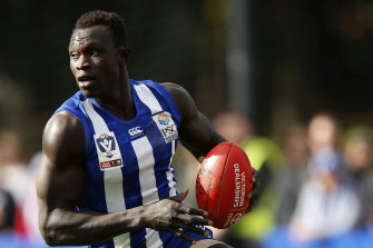 Majak Daw in action during a VFL match last year.