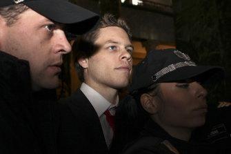 "Bulgarian police officers escort Australian citizen Paul ""Jock"" Palfreeman during his trial in 2009."