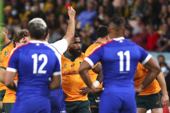 Marika Koroibete is sent off early in the deciding third Test against France at Suncorp Stadium on Saturday.