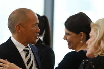 Charlie Teo, Gretel Packer and Roslyn Packer at the Packer Family and Crown Resorts Foundation announcement of a new $200 million philanthropic fund at Crown Casino in 2014.
