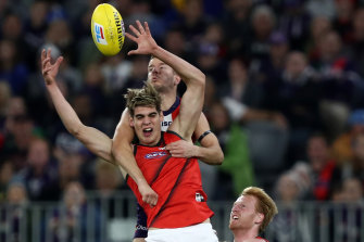 Bomber Brandon Zerk-Thatcher under pressure from Sam Switkowski of the Dockers.