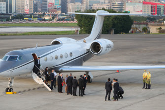 US Under-Secretary of State Keith Krach disembarks upon arrival in Taipei, Taiwan.