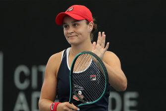 Ashleigh Barty celebrates after beating Anastasia Pavlyuchenkova at the Adelaide International.