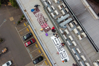 Banners were unfurled on the hotel roof.
