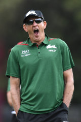 Wakey-wakey: Wayne Bennett takes in his first training session as Souths coach.