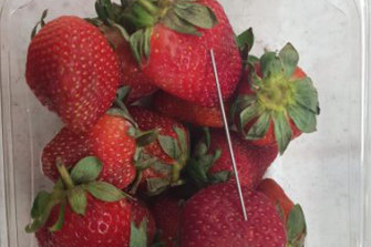 A needle found in a punnet of strawberries.