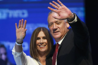 Blue and White leader Benny Gantz and his wife Revital following the September 17 election.