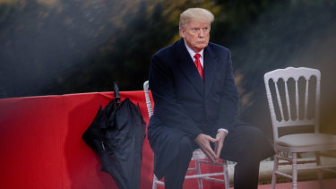 US President Donald Trump attending the American Commemoration Ceremony at the Suresnes American Cemetery in Paris.