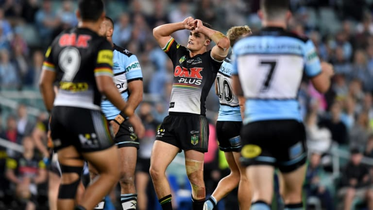 Cruel miss: Nathan Cleary reacts after missing a field goal that would have levelled scores against the Sharks.