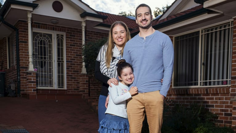 Jessica Matthews, pictured with daughter Ava and partner Simon Zanin, are worried they'll be priced out of the market by developers