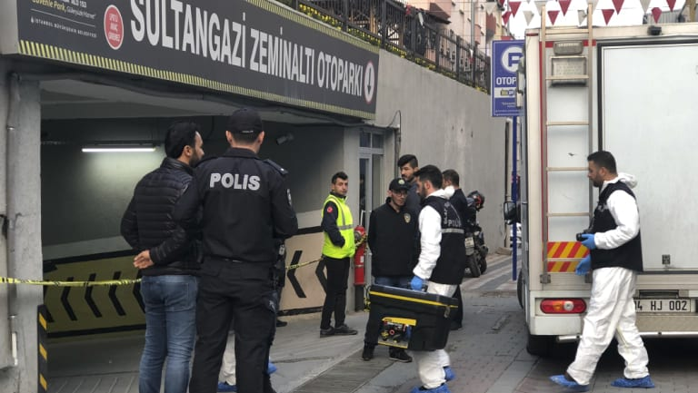 Turkish crime-scene investigators enter an underground car park, where a Saudi where authorities earlier found a vehicle belonging to the Saudi Consulate, in Istanbul.