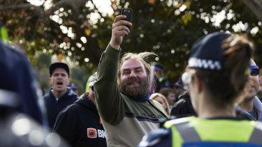 Phillip Galea (centre) at a far-right rally in 2016.