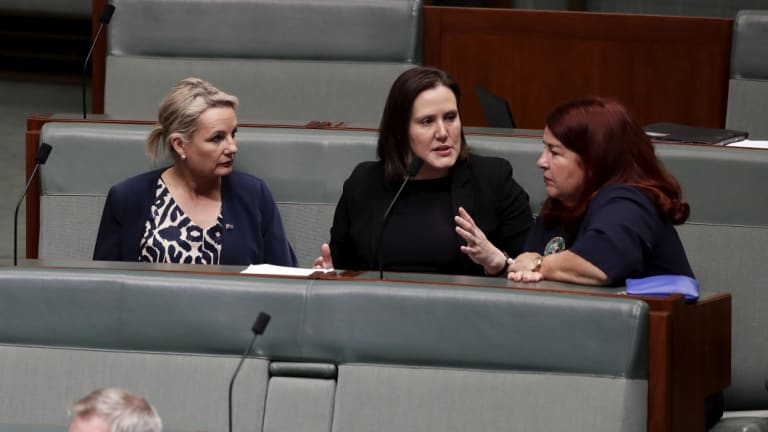 Assistant Minister for Regional Development and Territories Sussan Ley, with ministers Kelly O'Dwyer and Melissa Price during a division on the live export bill on Monday.