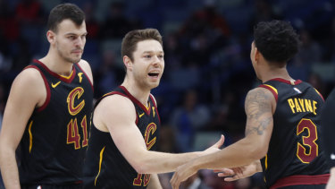 Cleveland's Matthew Dellavedova and teammates.