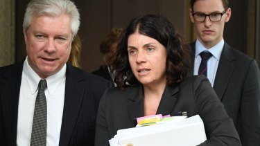 Sue Chrysanthou, Geoffrey Rush's barrister leaves the Federal Court on Monday.