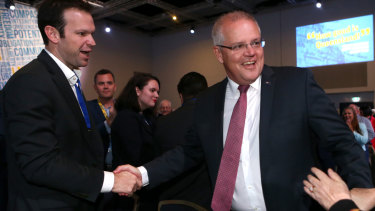 "Convention ""superfan"" Matt Canavan greets Prime Minister Scott Morrison at the convention."