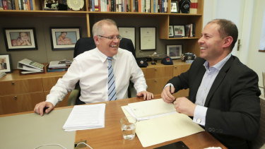 Prime Minister Scott Morrison and Treasurer Josh Frydenberg during a meeting at Parliament House.