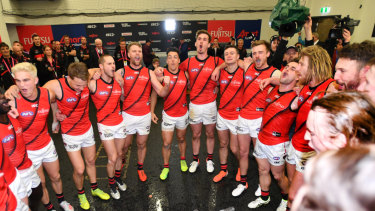 See the Bombers fly up: Celebrating the round 18 win against Adelaide.