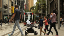 Sydneysiders aren't used to trains running down the centre of city streets.