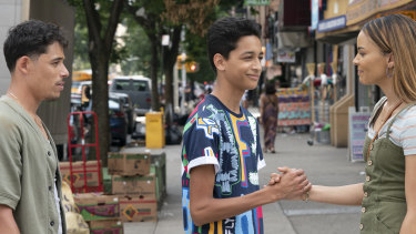 """Anthony Ramos, from left, Gregory Diaz and Leslie Grace in a scene from """"In the Heights."""""""