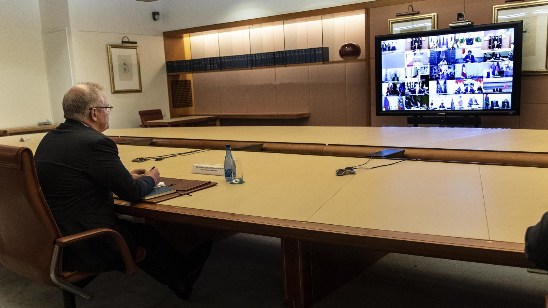 Scott Morrison takes part in a G20 summit via video call.