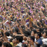 A huge crowd celebrated 2014 IPL champions Kolkata Knight Riders in Kolkata, India.