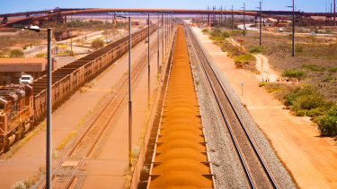 Iron ore bound for port at Port Hedland, Western Australia.