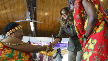 United States first lady Melania Trump meets chieftains of the Cape Coast Fante in Ghana.