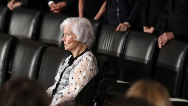 Roberta McCain, mother of Senator John McCain, is seated before his casket arrives to lie in state in the Rotunda of the US Capitol.
