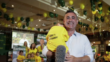 John Barilaro with daughter Sofia  at his election night function at the Queanbeyan Kangaroo Leagues Club last year.