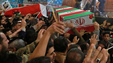 Mourners carry the coffins of Iran's top general Qassem Soleimani and Abu Mahdi al-Muhandis, deputy commander of Iran-backed militias in Iraq, during their funeral in the shrine of Imam Hussein in Karbala, Iraq on January 4.