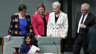 Julia Banks takes her new seat on the crossbench.