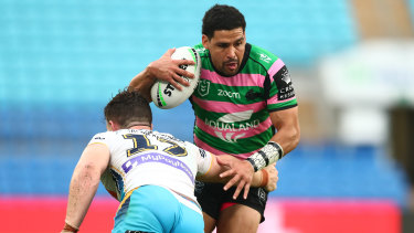 Rabbitohs five-eighth Cody Walker during yesterday's big win over the Titans.