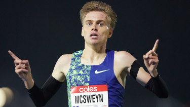 Stewart McSweyn wins the 5000 metres race in Melbourne.
