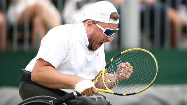 Dylan Alcott celebrates after winning the Wimbledon men's quads wheelchair singles .