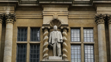 The Cecil Rhodes statue at Oxford's Oriel College.