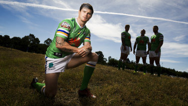 Raiders player John Bateman with the club's other English imports.