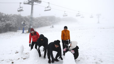 Day visitors build snowmen at the Mount Buller reopening in June.