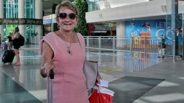 Barbara O'Donnell arrives in Denpasar from Melbourne, but is not worried about coronavirus.
