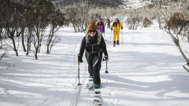 Leonie Wohl climbs a mountain during a backcountry tour of Dead Horse Gap in the Snowy Mountains.