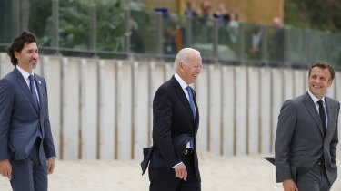 Trailing but hoping to lead: Canadian Prime Minister Justin Trudeau behind US President Joe Biden and French President Emmanuel Macron.