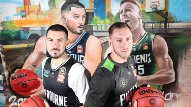 Boomers teammates Chris Goulding (left) and Mitch Creek will lock horns in the United v Phoenix NBL season-opener.