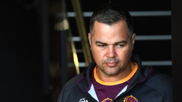 Broncos coach Anthony Seibold is seen arriving for a press conference on Thursday.