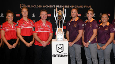 Players from both teams at the grand final press conference on Friday.