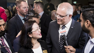Prime Minister Scott Morrison with Liberal Candidate for Chisholm, Gladys Liu, at her campaign launch at Box Hill Golf Club in Melbourne in April.
