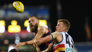 Max Gawn in action against the Crows on Saturday night.