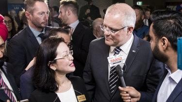 Prime Minister Scott Morrison with Liberal Candidate for Chisholm, Gladys Liu, at her campaign launch held at Box Hill Golf Club in Melbourne earlier this month.