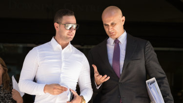 Daniel Katsogiannis (left) leaves court on Thursday with his lawyer Danny Eid.