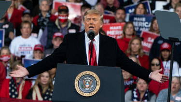Outgoing US President Donald Trump at a rally in Georgia on December 5.
