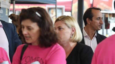 Dave Sharma joined Dr Kerryn Phelps and Tim Murray on board the lobby group WomenVote's pink campaign bus.
